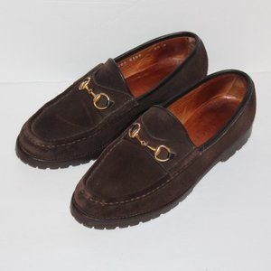 Gucci Brown Suede Loafers Horse Bit Women 8.5